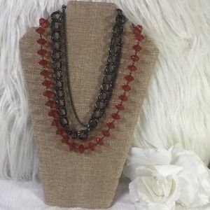 EUC 3 Strand Red Black Metal Chain Necklace
